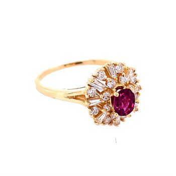 Pretty Ruby and Diamond Ring in Yellow Gold