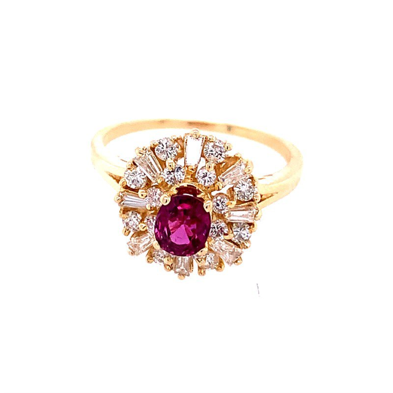 Perry's Estate Collection Pretty Ruby and Diamond Ring in Yellow Gold