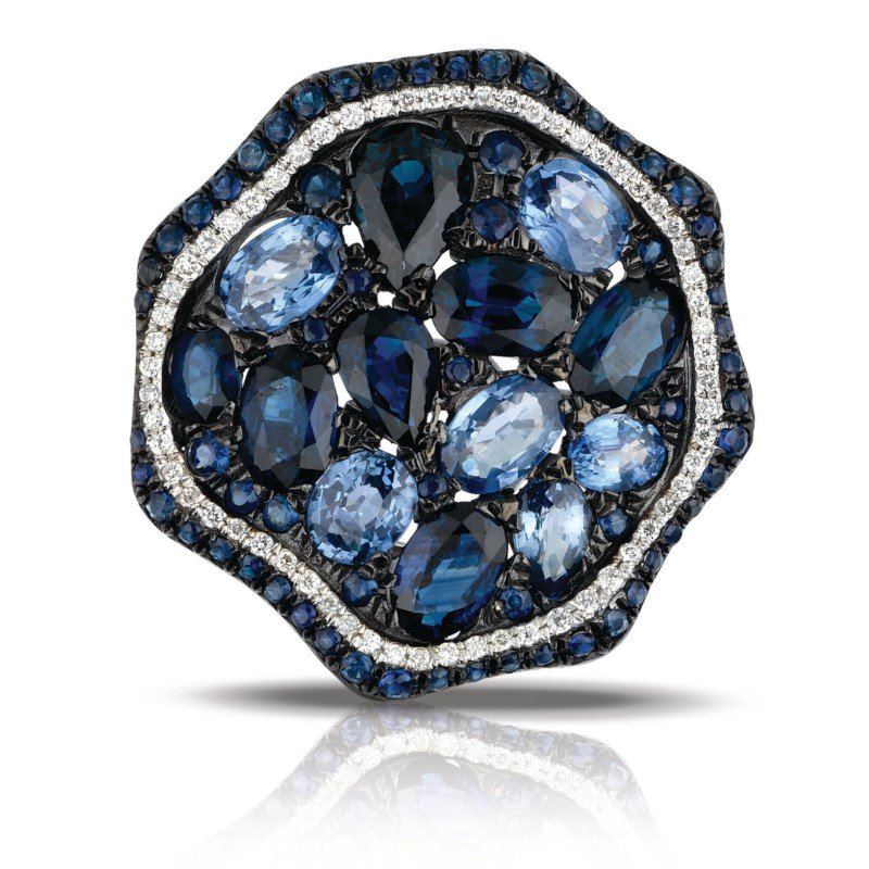 Marco Moore Sapphire and Diamond Ring in White Gold