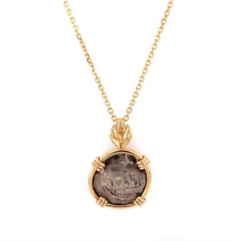 Julius Caesar Ancienct Coin Pendant in Yellow Gold