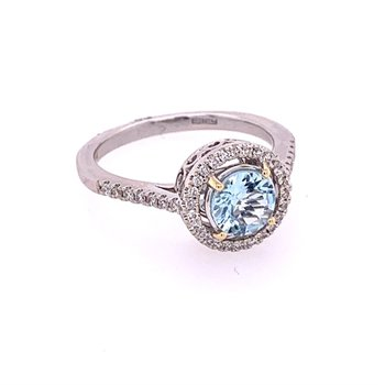 Aqumarine and Diamond Ring in White Gold