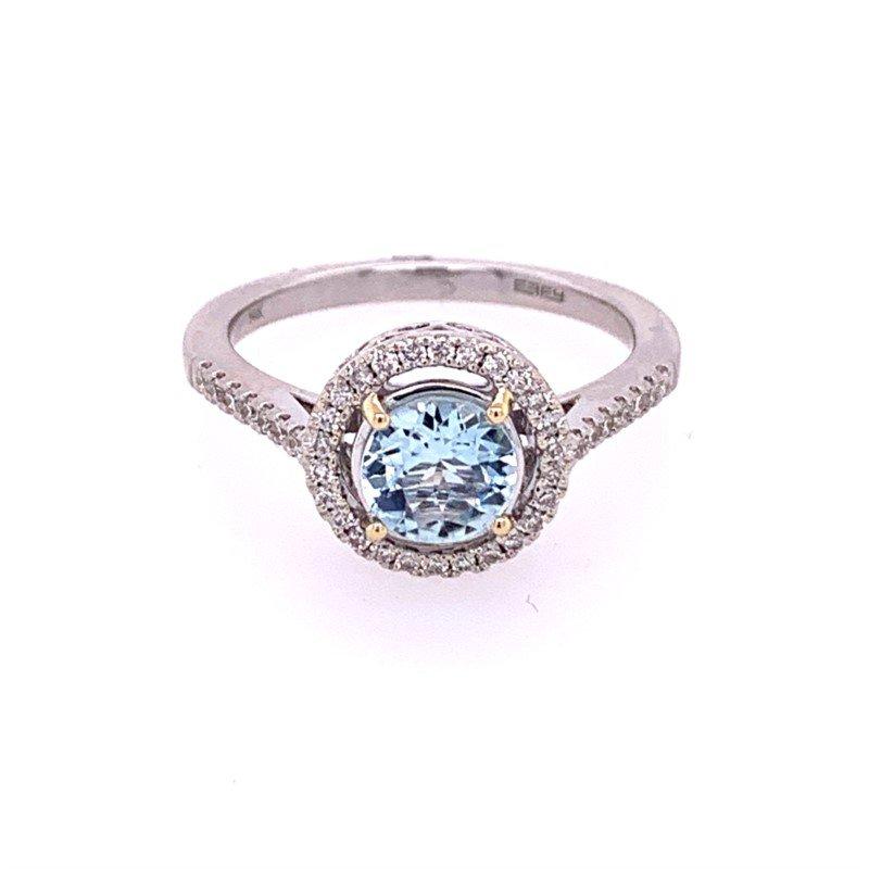 Effy Aqumarine and Diamond Ring in White Gold