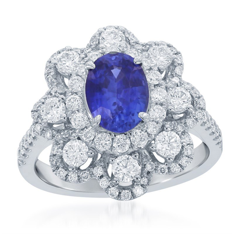 Jewels By Jacob Sapphire and Diamond Ring in White Gold