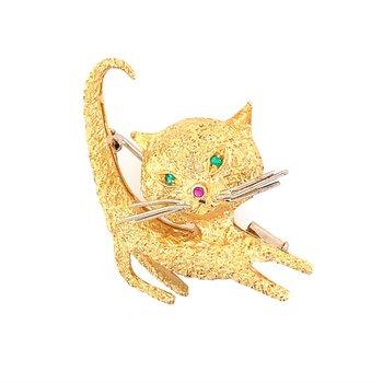 Vintage 1950s-60s Cat Pin in 18k Gold