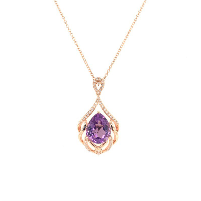 Effy Amethyst and Diamond Pendant in Rose Gold