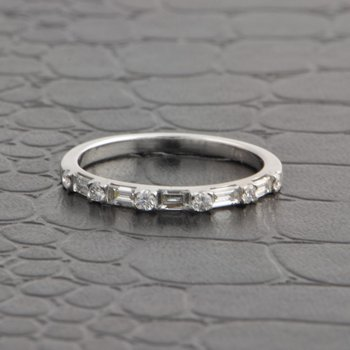 Baguette and Round Brilliant Cut Diamond Wedding Band