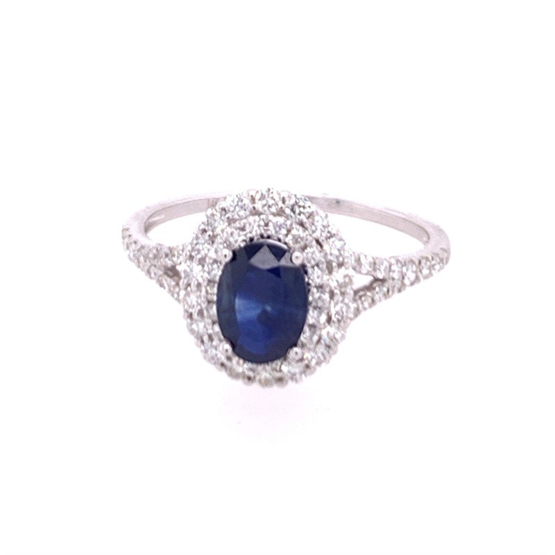 Royal Jewelry Blue Sapphire and Diamond Ring in White Gold