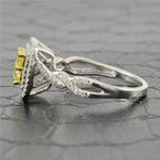 Effy 0.99  Carat Total Fancy Yellow and White Diamond Engagement Ring