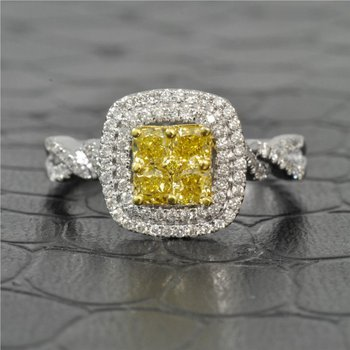 0.99  Carat Total Fancy Yellow and White Diamond Engagement Ring