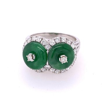 Jadeite and Diamond Ring in White Gold