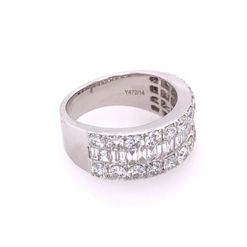 2.80 CTW Round and Baguette Diamond Band in 18k White Gold