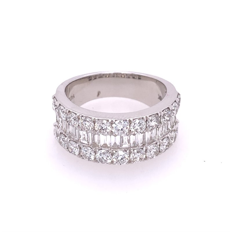 Wilkerson Jewelry 2.80 CTW Round and Baguette Diamond Band in 18k White Gold