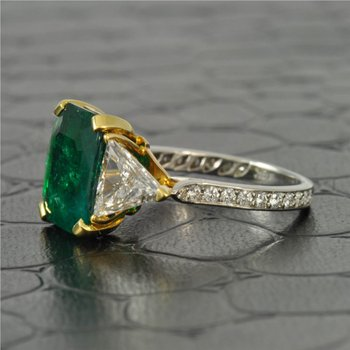 3.63 Carat Columbian Emerald and Diamond Ring in Platinum and 18K Gold