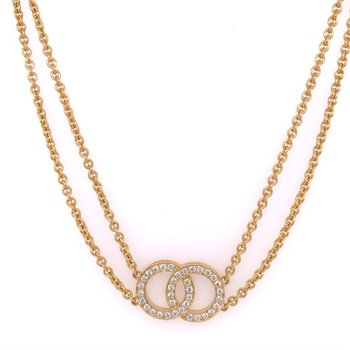 Movado Double Strand Diamond Necklace in 18k Gold