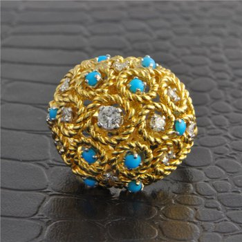 Gold Rope Style Cluster Ring with Turquoise and Diamonds