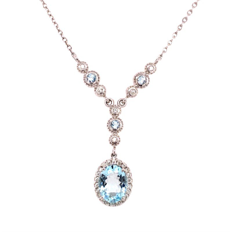 Ryan Gems Aquamarine and Diamond Pendant in White Gold