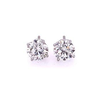 1.70 CTW Round Brilliant Cut Diamond Stud Earrings