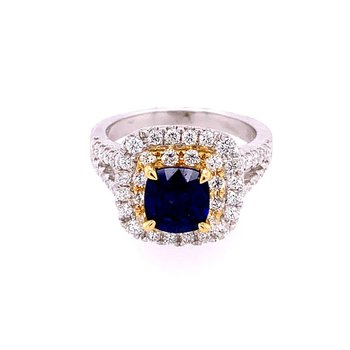 Sapphire and Diamond Ring in Two Tone 18k Gold