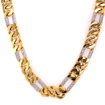 Figaro Chain Necklace with Diamonds