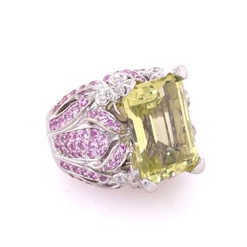 Green Quartz, Pink Tourmaline, and Diamond Ring in White Gold