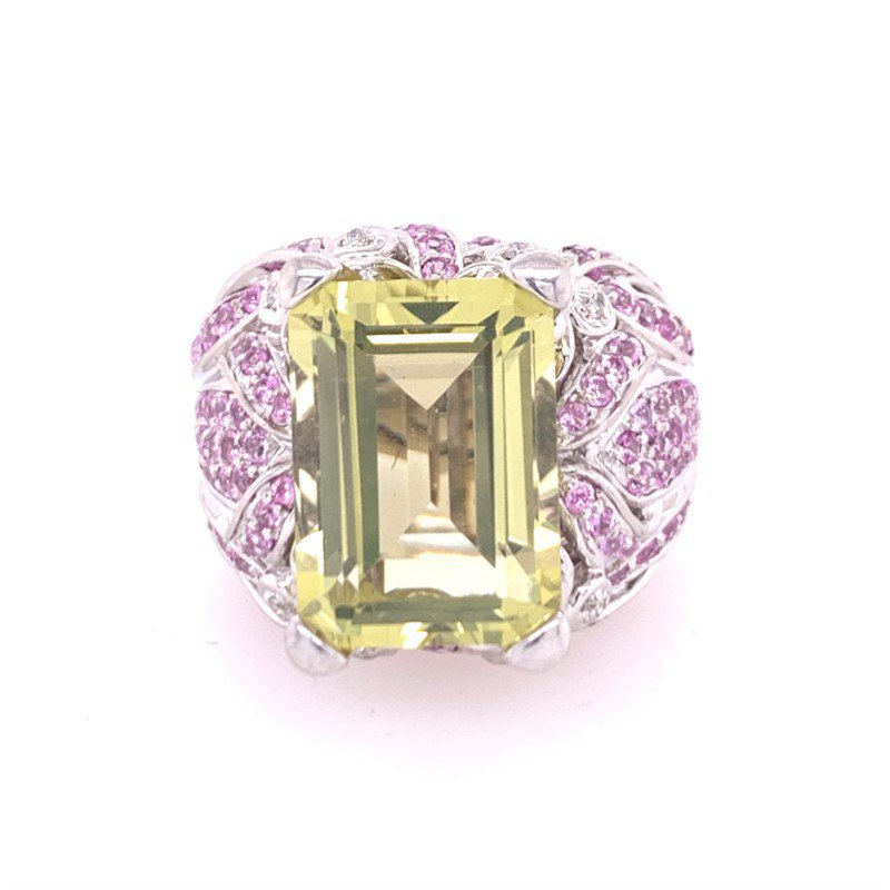Perry's Estate Collection Green Quartz, Pink Tourmaline, and Diamond Ring in White Gold