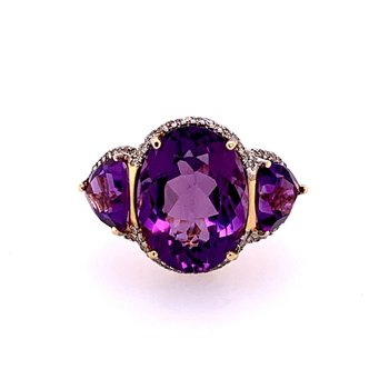 Statement Amethyst and Diamond Ring in Yellow Gold