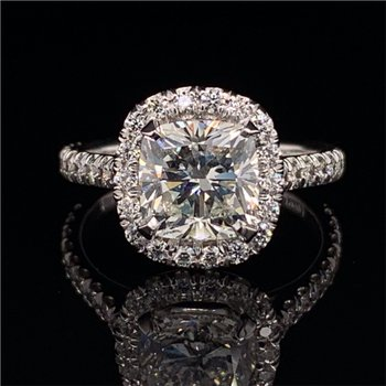 2.01 Carat Cushion Cut Diamond Halo Engagement Ring