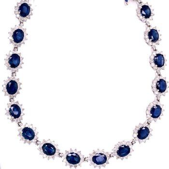 Sapphire and Diamond Necklace in White Gold