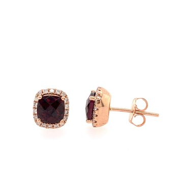 Rhodolite Garnet and Diamond Earrings in Rose Gold