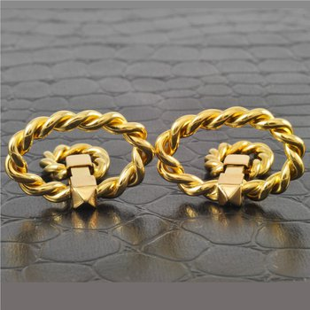 Twisted Rope Lasso Style 18k Yellow Gold Cuff Links