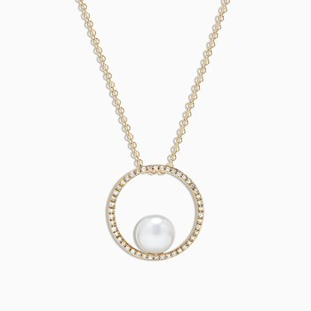 Cultured Pearl & Diamond Pendant in Yellow Gold