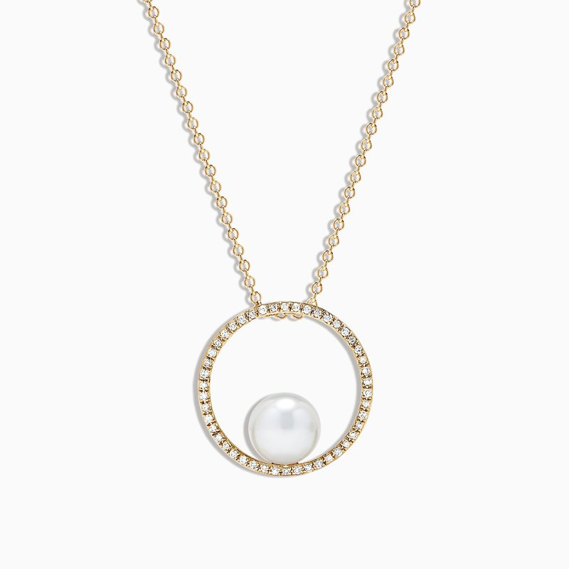 Effy Cultured Pearl & Diamond Pendant in Yellow Gold