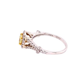 Yellow Diamond Engagement Ring in White Gold