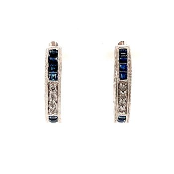 Sapphire and Diamond Hoop Earrings in White Gold