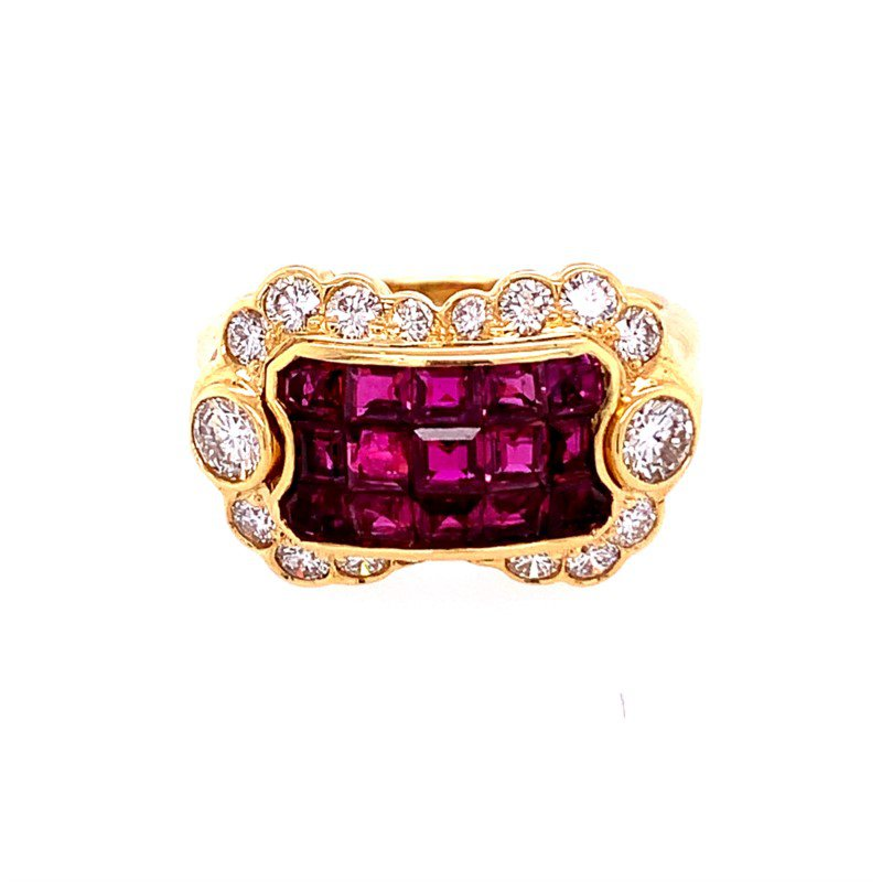 Perry's Estate Collection Unique Ruby and Diamond Ring in 18k Gold