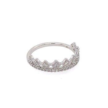 White Gold Tiara Style Ring with Diamonds