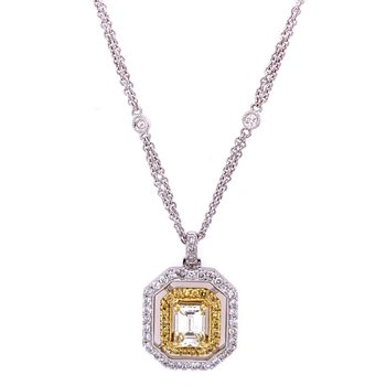Two Tone Emerald Cut Diamond Pendant with Yellow and White Diamonds