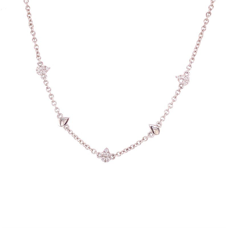 Royal Jewelry Diamond Station Bracelet in White Gold