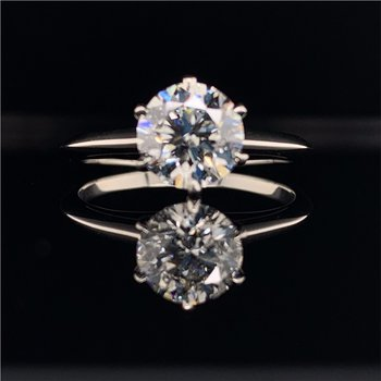 GIA 1.60 Carat G-SI1 Round Brilliant Cut Diamond Engagement Ring in Platinum