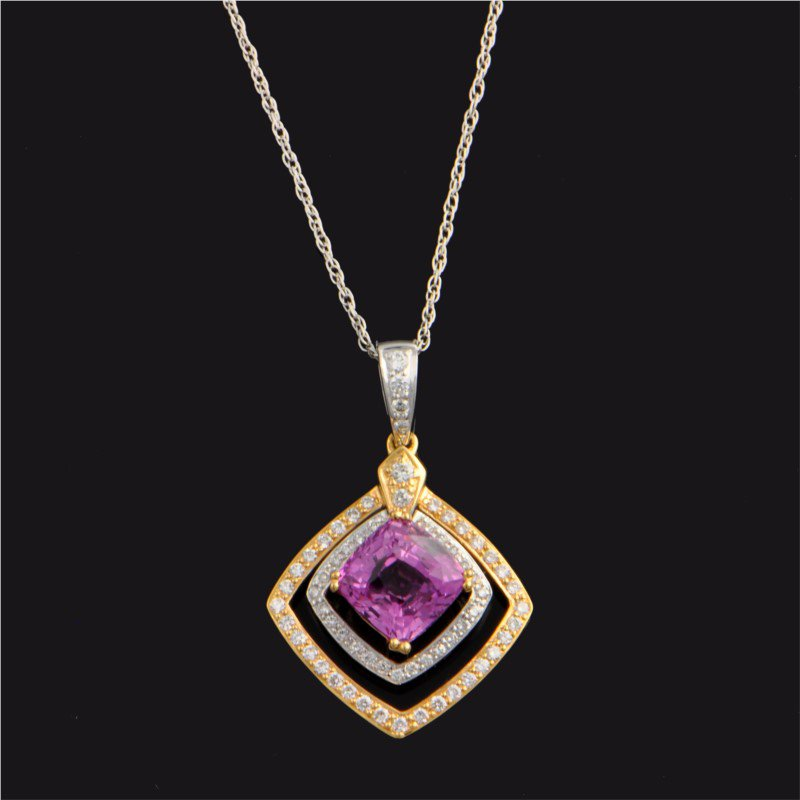 Perry's Estate Collection Two Tone Pink Sapphire and Diamond Pendant
