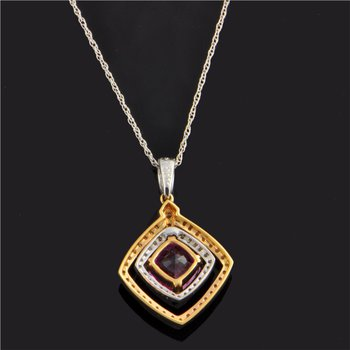 Two Tone Pink Sapphire and Diamond Pendant
