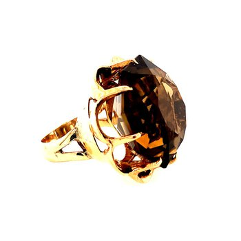 Vintage 32.0 Carat Smoky Quartz Ring in Yellow Gold