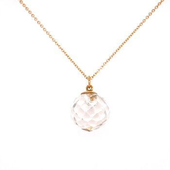 Crystal Pendant Necklace in Yellow Gold