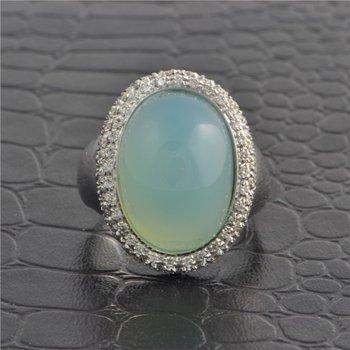 Chalcedony and Diamond Ring in White Gold