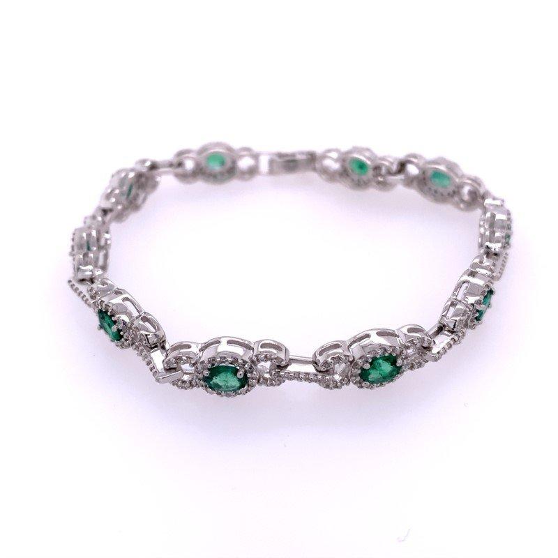Effy Emerald and Diamond Bracelet in White Gold