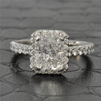2.0 Carat H - SI2 Radiant Cut Diamond Engagement Ring with Halo