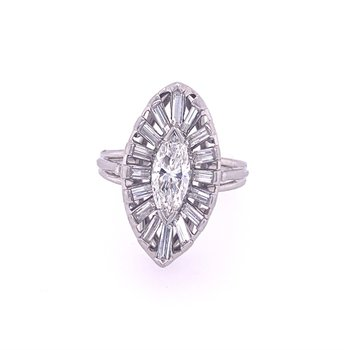 Vintage 1950s Marquise Diamond Ring in Platinum