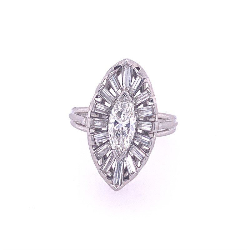 Perry's Estate Collection Vintage 1950s Marquise Diamond Ring in Platinum