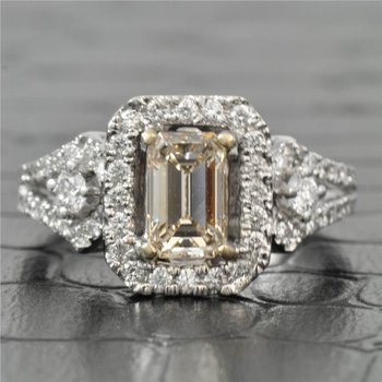 0.78 Carat Emerald Cut Diamond Halo Engagement Ring in White Gold