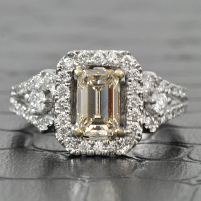 Jewels By Jacob 0.78 Carat Emerald Cut Diamond Halo Engagement Ring in White Gold